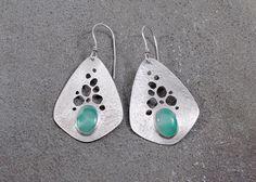 Sterling Silver & Chrysoprase Earrings, Teardrop Shape with Cutouts by Leslie Zemenek for Z Leslie Jewelry