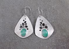 Sterling Silver & Chrysoprase Earrings, Teardrop Shape with Cutouts by Leslie Zemenek for Z Leslie Jewelry