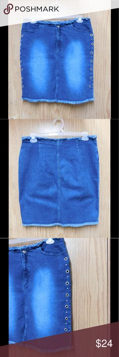 Chic Blue Denim Skirt W/Pockets &Metal Details This skirt is really cute and adorable. Soft and comfy material. Gorgeous color and exquisite style. Unique. Size Large 14 - Almost New. Save $$$ on bundles. Skirts