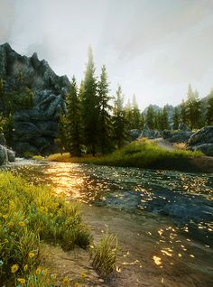 skyrim: scenery - okay I know this is a screen shot from a video game but it's just freaking gorgeous!