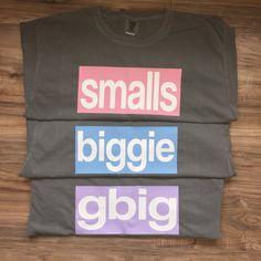 Sorority Big/Little Comfort Color Tshirt in Grey // Biggie & Smalls (one shirt) Big Little Shirts, Sorority Big Little, Alpha Xi Delta, Delta Zeta, Sigma Kappa, Grey Shirt, T Shirt, Big Little Reveal, Biggie Smalls