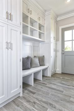 Mudroom Cubbies, Transitional, Laundry Room, Vita Design Group This is what my house needs! Mud room especially! Mudroom Cubbies, Mudroom Laundry Room, Mudrooms With Laundry, Mudroom Benches, Mud Room Lockers, Mudroom Organizer, Garage Laundry, Laundry Baskets, Laundry Tips