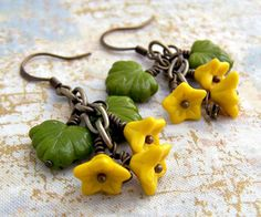 Sunflower Yellow Earrings with czech glass by ElainaLouiseStudios, $20.00