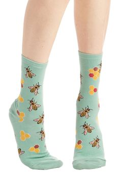What's the Buzz? Socks. Word on the street is that youre looking totally cute from your head all the way down to these teal socks! #blue #modcloth