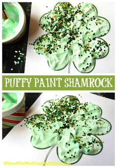 Puffy Paint Shamrock - Kid Craft Idea + Free Printable - St Patty& Day - Four Leaf Clover - St Patrick& Day Craft marchcrafts Saint Patricks Day Art, St Patricks Day Crafts For Kids, Spring Crafts For Kids, Crafts For Kids To Make, Kids Diy, Kids Crafts, March Crafts, St Patrick's Day Crafts, Mothers Day Crafts