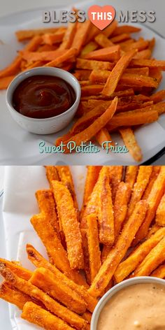 The BEST crispy homemade Sweet Potato Fries recipe! Tasty fries made with a secret ingredient, a perfect spice blend, and baked to crisp perfection. Indian Food Recipes, Healthy Dinner Recipes, Healthy Snacks, Vegetarian Recipes, Healthy Eating, Cooking Recipes, Dessert Recipes, Easy Snacks, Yam Recipes
