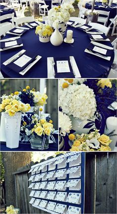 Blue, white (yellow) table inspiration (w/flowers) Except with grey