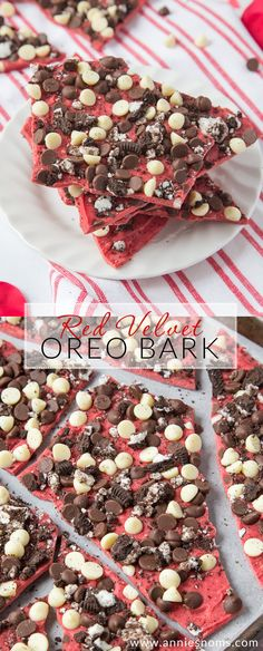 This Red Velvet Oreo Bark has two types of chocolate and a ton of crushed Oreo's, making an utterly divine, no-bake and easy to make Valentine's Day treat! Chocolate Candy Recipes, Chocolate Bark, Great Desserts, Delicious Desserts, Dessert Recipes, Yummy Treats, Sweet Treats, Oreo Bark, Bark Recipe