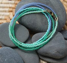 these colors make me so happy :: seaglass . a soul mantra seed bead necklace #jewelryinspiration #cousincorp