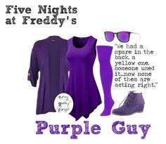 """""""FNAF: Purple Guy"""" by curvygeekyfangirl ❤ liked on Polyvore featuring We Love Colors, WearAll and Ray-Ban"""