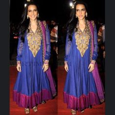 Neha Dhupia looks awesome in Deep Blue & Pink Salwar Kameez  Color: Deep Blue, Pink  Fabric: Net  Work: Bead, Embroidery With Stones/Crystals, Lace, Resham, Stones  Price:£101.50