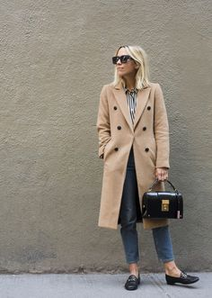 Trench instead of coat, stripped shirt, crop jeans and loafers