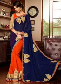Blue And Orange Stone Work Half N Half Bridal Saree