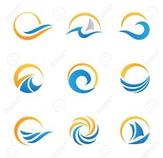 Illustration of Sun and sea icons vector art, clipart and stock vectors. River Logo, Sea Logo, Logos, Banner Printing, Logo Design Inspiration, Clipart, Illustration, Vector Free, Logo Templates