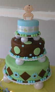 Adorable Baby Boy Shower Cake..but could be done in any color!