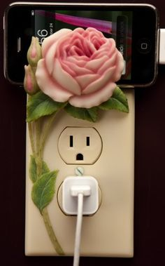 Beautiful & Functional - Decorative Outlet Covers and Cell Phone Holders and Switch Plate Covers Polymer Clay Tools, Polymer Clay Projects, Diy Clay, Flower Crafts, Diy Flowers, Switch Plate Covers, Switch Plates, Hand Work Embroidery, Cold Porcelain