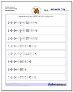 Printable Fraction Worksheet PDFs with answer keys! These dividing fractions worksheets have problems that can be solved with a cross multiply step, but they do not include wholes so do not require initially converting to improper fractions to solve. Many other fraction worksheet variations ready to print on the site... Click through to view! 3rd Grade Math Worksheets, Free Printable Math Worksheets, Fractions Worksheets, Addition Worksheets, Alphabet Worksheets, Preschool Worksheets, Free Printables, Improper Fractions, Amigurumi