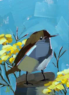 Rock Wren and Yellow Tansy original bird and by prattcreekart, $55.00