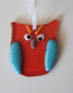 Fused Glass Owl Ornament