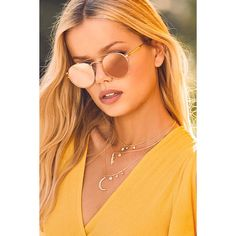Crap Eyewear The Tuff Safari Rose Gold Mirrored Sunglasses ($78) ❤ liked on Polyvore featuring accessories, eyewear, sunglasses, pink, mirror sunglasses, rounded sunglasses, pink glasses, round mirrored sunglasses and rose gold sunnies