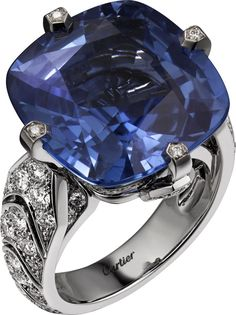 """CARTIER. """"Incantation"""" Ring - platinum, one 22.84-carat cushion-shaped sapphire from Ceylon, brilliant-cut diamonds. The sapphire can be worn as a ring or necklace. #Cartier #CartierMagicien #HauteJoaillerie #FineJewelry #Diamond #Sapphire"""