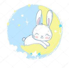 Moon Cartoon, Bunny Logo, Kawaii Bunny, Moon Drawing, Powerpoint Background Design, Beautiful Unicorn, Bunny Art, Kids Prints, Kids Pajamas