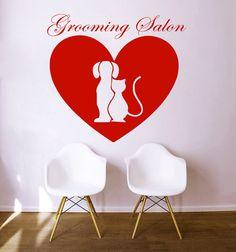 Wall Decals Quote Pet Grooming Decal Dog Cat Heart Vinyl Sticker Pet-Shop Grooming Salon Home Decor Art Mural Ms505