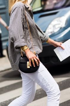 Striped button down and white jeans