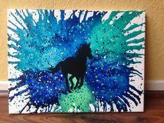 Horse melted crayon art