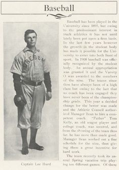 1909 UO baseball.  From the 1910 Oregana (UO Yearbook).  www.CampusAttic.com