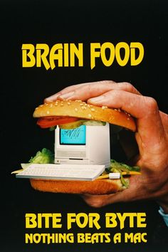 Brain Food Brain Food, Mcdonalds, Advertising, Ethnic Recipes, Figurative Language, Macs, Magazine Ads, Apples, Graphic Design