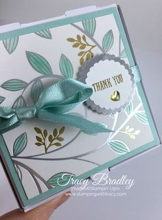 """The top of the box Springtime Foils DSP. Pool Party Stampin' Blends, wrapped box up with Pool Party Shimmer Ribbon. Punched Silver Foil scallop & scallop embossed with """"Thank You"""" in gold. Pretty Cards, Cute Cards, Diy Cards, Foil Paper, Paper Cards, Square Card, Stamping Up Cards, Card Making Inspiration, Card Maker"""