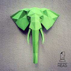 Elephant head 1 printed DIY kit by WastePaperHead on Etsy