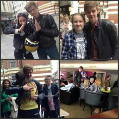 A collage of Thomas with his fans