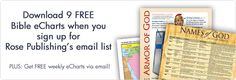 Does Rose Publishing give away free Bible charts via email each week? Yes, Rose Publishing is the only Christian publishing company that specializes in full-color Bible charts. We have more than 10...
