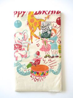 Vintage Birthday Paper Tablecloth at NeatoKeen on Etsy
