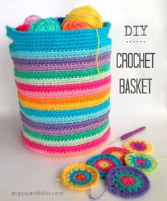 Crochet Basket - Tutorial ❥ 4U hilariafina http://www.pinterest.com/hilariafina/