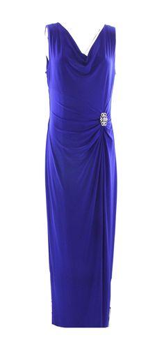 Lauren Ralph Lauren NEW Blue Navy Women's Size 10 Maxi Slit Sheath Dress $179