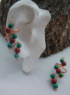 Turquoise & Red Jasper Ear Cuffs. $20.00, via Etsy.