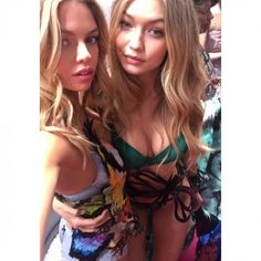 37a1b98396 Stella Maxwell and Gigi Hadid backstage at the VS Victoria s Secret Fashion  Show vsfs 2015 - december  in NYC