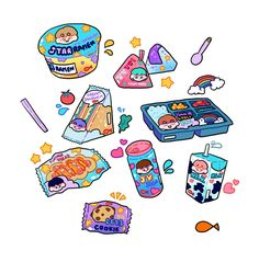 Cute Food Drawings, Cute Kawaii Drawings, Chibi Kawaii, Kawaii Art, Aesthetic Drawing, Aesthetic Art, Aesthetic Stickers, Kawaii Wallpaper, Doodles