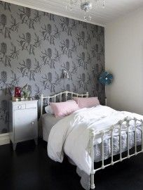Banksia Wallpaper at Trelawney Farm in Mudgee Iron Headboard, Handmade Wallpaper, Home Bedroom, Bedrooms, Black And White Interior, Colorful Interiors, White Interiors, New Room, House Colors