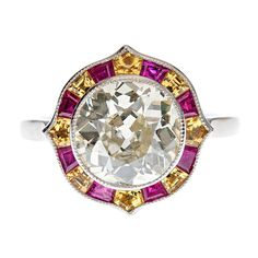 Old European Cut Diamond, Ruby & Yellow Sapphire Ring