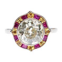 Old European Cut Diamond, Ruby & Yellow Sapphire Ring