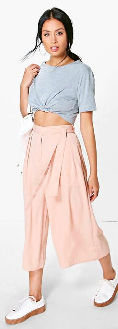 Nairi Tie Waist Woven Tailored Culottes - Trousers  - Street Style, Fashion Looks And Outfit Ideas For Spring And Summer 2017