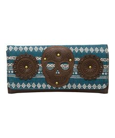 Another great find on #zulily! Blue & Brown Geometric Skull Wallet by Loungefly #zulilyfinds