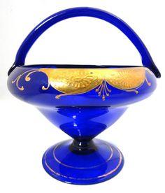 Vintage Bohemian Art Glass Basket Vintage by TinLizzyTreasures