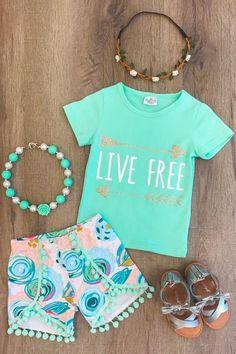"""Live Free"" Mint Pom Pom Short Set"
