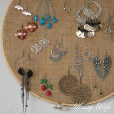 Love this idea! ~DIY Earring Holder - only 5 minutes & less than $5--Hang it on a hook so you can get to the back easily