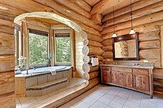 Picture soaking in a sea of bubbles and looking out at the trees. #bathtub #cabin